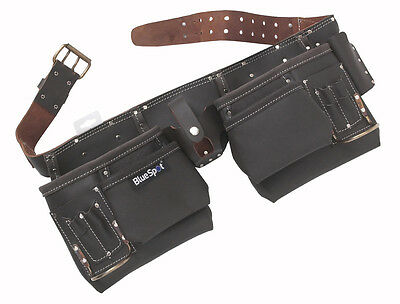12 Pocket Oil Tanned Leather Tool Belt Pouch Toolbelt