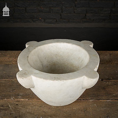 Large 19th C White Marble Mortar