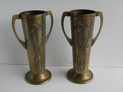 Pair of Antique Beldray Art Nouveau Brass Two-Handled Vases.