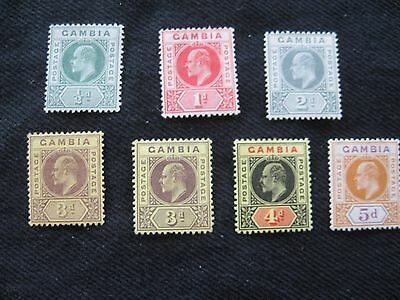 Gambia: 1909 wmk MCCA definitive set to 5d mounted mint