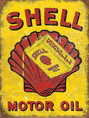 Shell Motor Oil , Retro metal Aluminium Sign vintage Garage Shed man cave