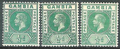 Gambia 1912 part set multi-crown CA mint SG86/86a/86b (3)