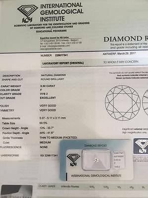 Diamante certificato e blisterato IGI 0.50 carati colore F prezza Vvs2 EXCELLENT