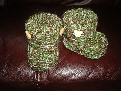 hand knitted baby booties 0 - 3 months