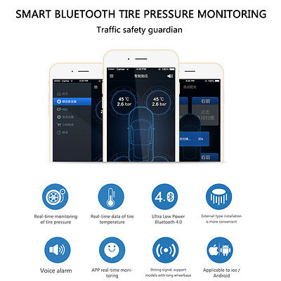Tire Car Bluetooth Tyre Pressure Monitor TPMS x4 for iPhone iOS Android