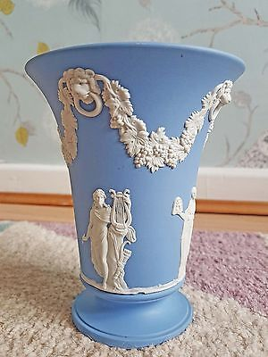 Wedgwood Jasperware Blue and White Vase, 15cm Tall, Excellent Condition.