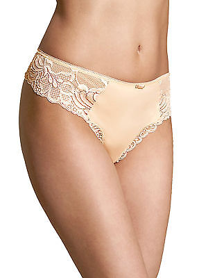 Brand New Ex M/&S Cotton Blend Front Lace Full Briefs White//Almond Sizes 8-28