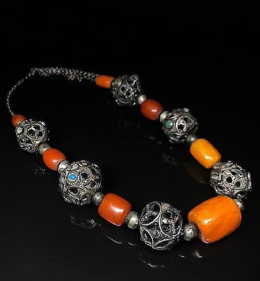 Antique Yellow color Baltic Amber necklace (90.3 g.) 161E