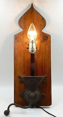 ANTIQUE 1870's THE C PARKER CO #350 CAST IRON COFFEE GRINDER CONVERTED INTO LAMP