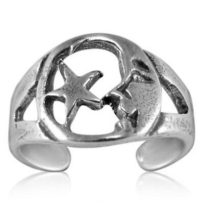 Adjustable Sterling Silver Star and Moon Toe Ring High polished and Quality