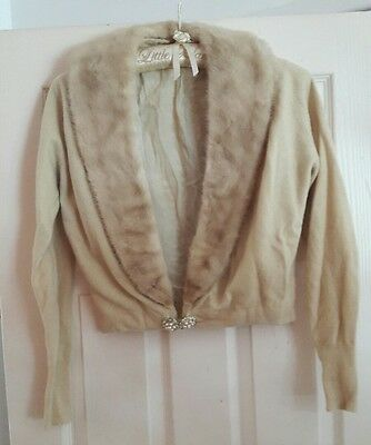 vintage 1950s cardigan cashmere and mink fur trim, rockabilly grease fifties