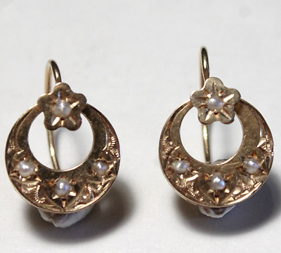 Antique Victorian Dormeuse French Moon & Star 14k Rose Gold Pearl Earrings