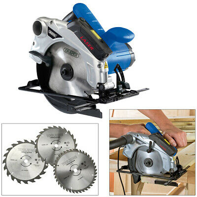 Draper 185Mm Circular Saw With Laser Guide 1300W 230V + 3 Blades 2Yr Warranty