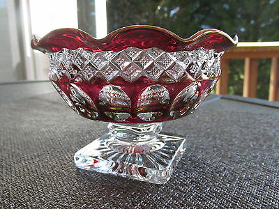 Westmoreland Waterford Diamond Thumbprint Ruby FLASH Press Glass Compote/BOWL
