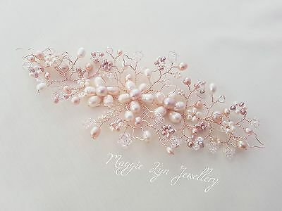 Rose gold, blush pink Bridal hair vine accessory, comb, head piece slide Wedding