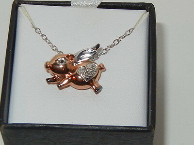 NEW Black & White Diamond Flying Pig Pendant Necklace Gold Over Sterling