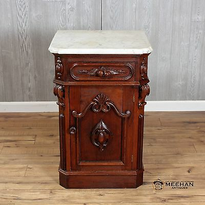 Marble Top Half Antique Victorian Walnut Commode Refinished
