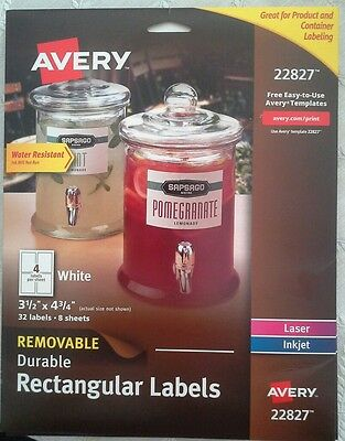Avery 22827 Removable Durable Rectangular Labels White 3.5 X 4.75 Pack Of 32