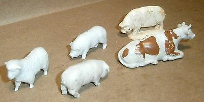Vintage O/S Scale Farm Animals - Cow, 3 Pigs and Sheep