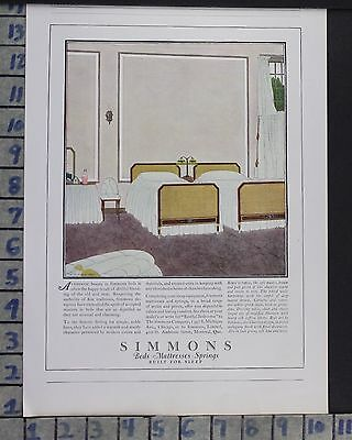 1923 Simmons Mattress Sleep Bedroom Interior Home Decor Vintage Art Ad  Cr70