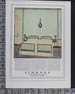 1923 Simmons Mattress Sleep Bedroom Interior Home Decor Vintage Art Ad  Cr36