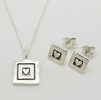 925 Sterling Silver Square Love Heart Earrings & Pendant Necklace Set