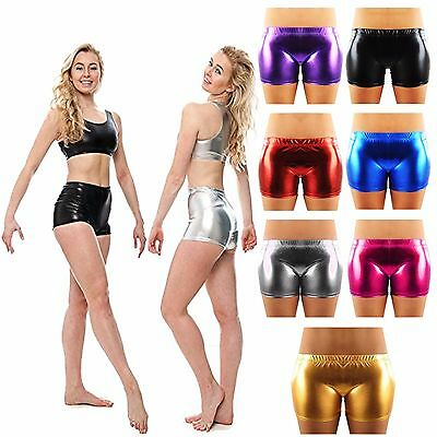 New Ladies American Shiny PVC Metallic Foil DISCO Wet Look Dance Pants SHORTS UK