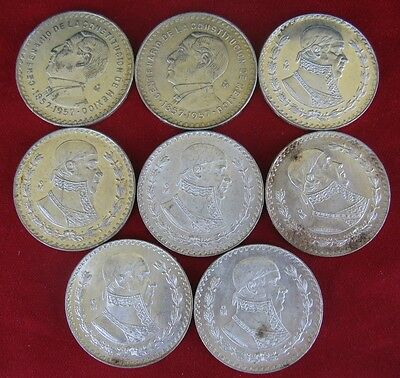 Group of 8 Mexican 1 Peso Coins from 1957 - 1967