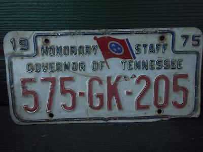 1975 Tennessee 575-Gk-205 Honorary Staff Governor Of Tennessee License Plate Bar