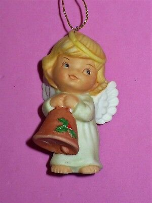 Vintage 1986 Christmas Gorham Small Porcelain Angel Holding Bell Ornament Vgc