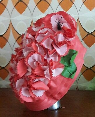vintage hat 50s 60s poppies red flowers goodwood turban style