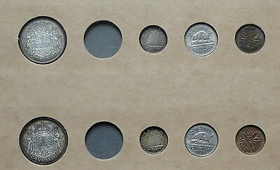 1937 & 1938 Canada Silver Year Sets In Vintage Holder!! * No Quarters *
