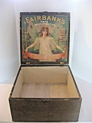 Antique 1898 - Fairbanks Fairy Soap Box Wooden Crate - Country Store Advertising