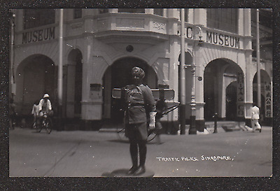 1940,s SINGAPORE TRAFFIC POLICE IN FRONT OF THE MUSEUM REAL PHOTO POSTCARD