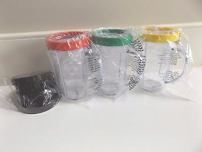 NEW Lot of 3 Magic Bullet Mugs Cups with Rings 2 Black Lids and 2 Shaker Lids