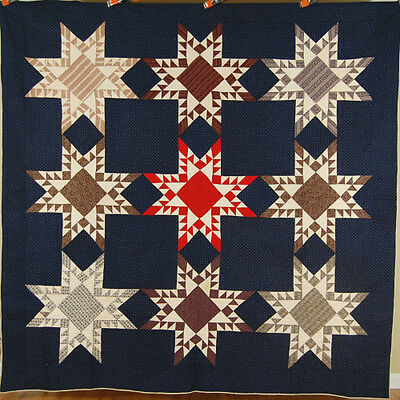 OUTSTANDING Vintage 1870's Feathered Stars Antique Quilt, NICE QUILTING ~MINT!