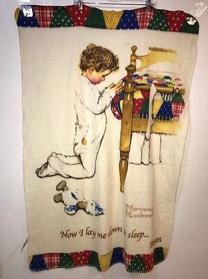"""Norman Rockwell """"Now I lay me down to sleep"""" Blanket Throw Boy's Town"""