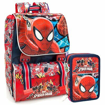 SCHOOL PACK SPIDERMAN OFFERTA-Zaino Estensibile Astuccio 3 Zip Accessoriato