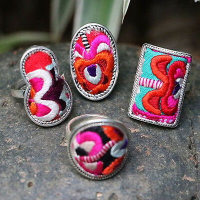 Creative Silver Jewellery Ethnic Embroidery Ring Hmong Boho Retro Ring