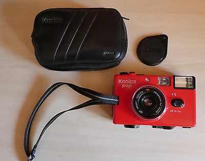 Vintage 35mm Film Camera - Red Konica Pop