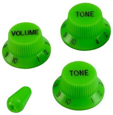 Guitar Volume & Tone Knob Set W/switch Tip For Fender Strat Vai (Green) *new*