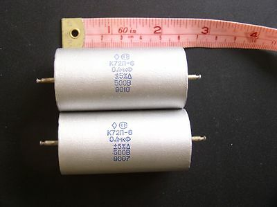 2 pieces Teflon Audiophile Capacitor 0.1uf 500V 5% NOS