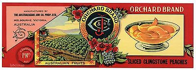 ORCHARD Brand, Melbourne, Australia *AN ORIGINAL PEACH TIN CAN LABEL* T92