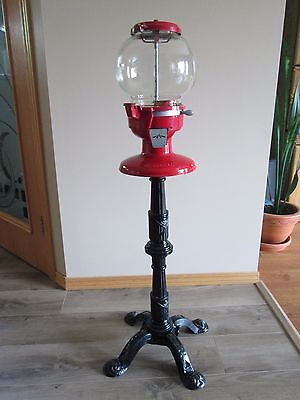 Vintage Bubble Gumball Machine With Stand Bank Carousel Coin Operated