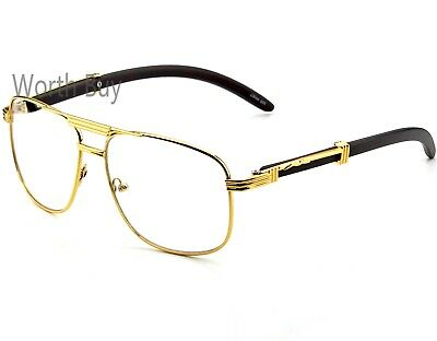 New Mens Womens Clear Lens Fashion Vintage Retro Designer Glasses Frame Wood 80s