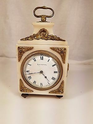 French White Marble and Ormolu mount Officer De Pendulue Mantel Clock