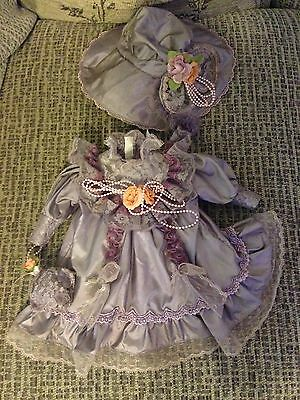 "Vintage porcelain doll Clothes/Outfit. Fit 17"" Doll. Dress And Hat."