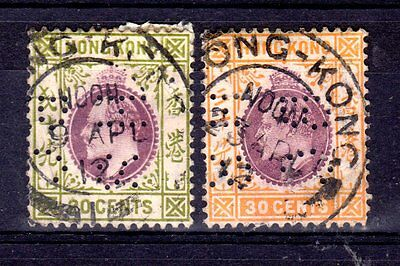 Hong Kong EdVII 1907 Used 20c & 30c with HSBC Perfins SG 96 & 97