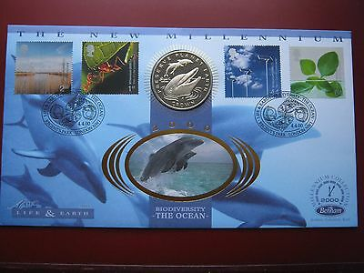 Gibraltar 1994 Crown Cu-Ni coin Dolphin Preserve Planet Earth sealed Benham FDC