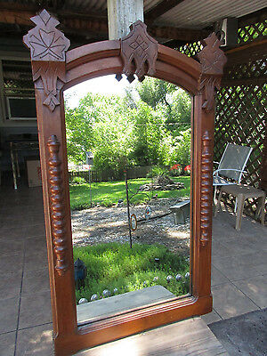 """Antique Victorian Eastlake Incised Wood Barley Twist Accents Wall Mirror 39"""""""